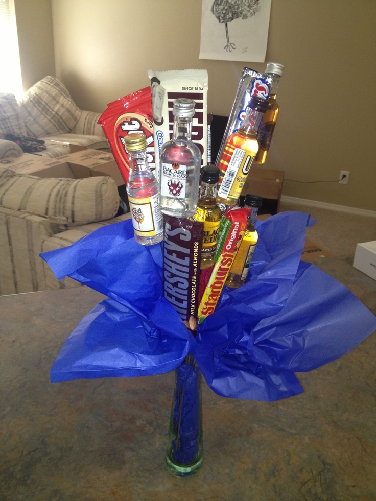 mini liquor bouquet. 'a dozen roses' 6 liquor bottles, 6 ...