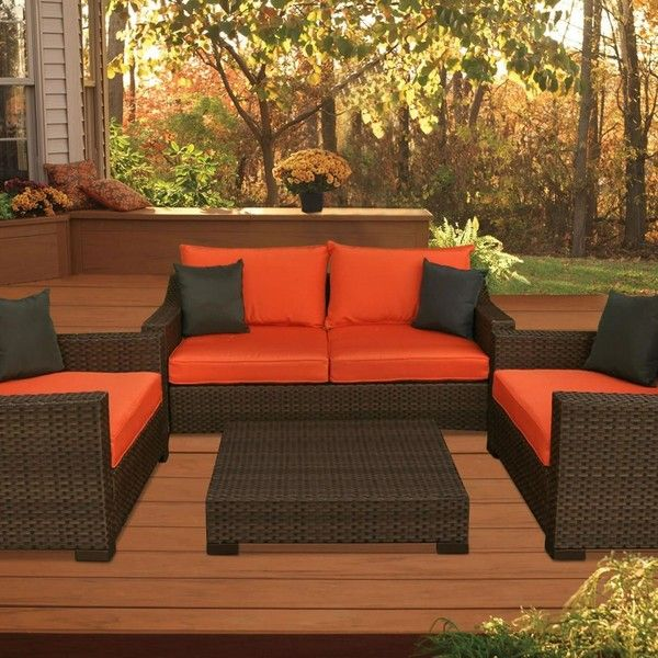 2 499 Liked On Polyvore Featuring Home Outdoors Patio Furniture Wicker Loveseat Orange Outdoor Garden
