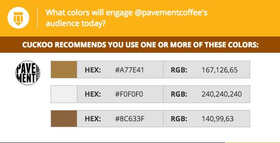 Coffee drinkers are in need of a pick-me-up today! #latte colors are now trending in Pavement Coffee's audience.