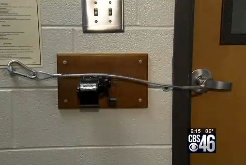 Clever way to secure a door from intruders (for room walls that are concrete) http://www.theblaze.com/stories/2014/08/29/teacher-invents-simple-device-that-could-stop-a-gunman-and-save-her-students-lives/