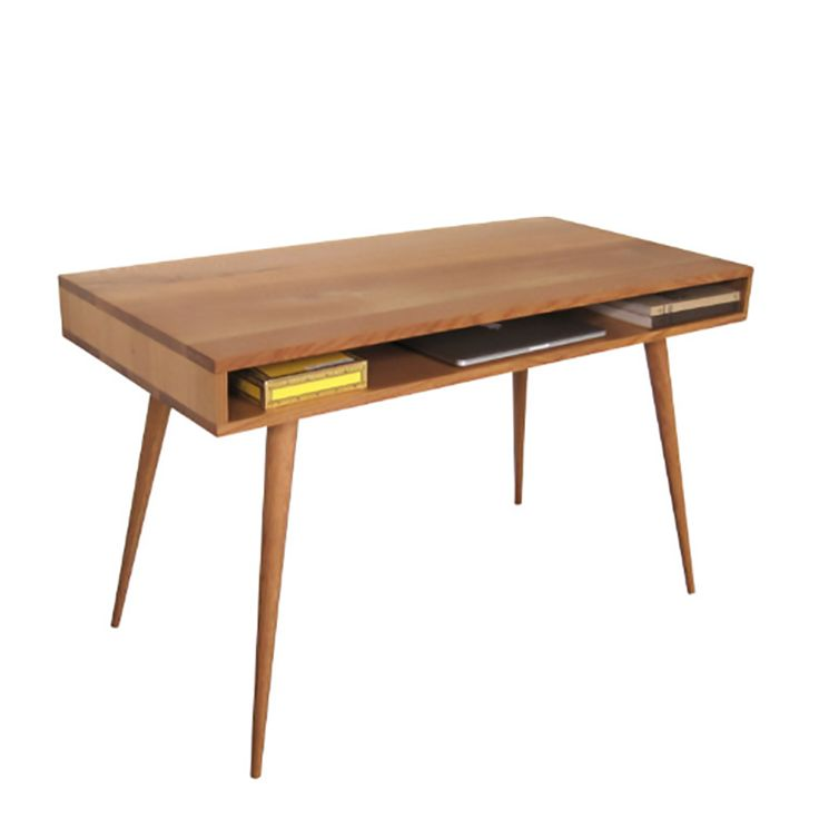 This simple box design desk provides a spacious work top and storage below for your laptop, pencil box and whatever else you need to stash in them. This desk is available in solid walnut or white oak.