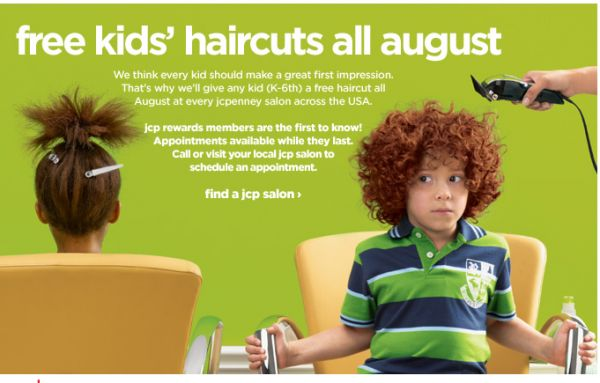 free haircut for kids at JCPenney through August 31, 2012