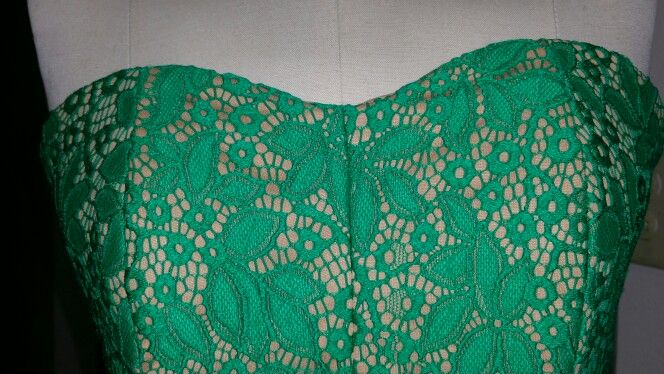 Green lace dress top view