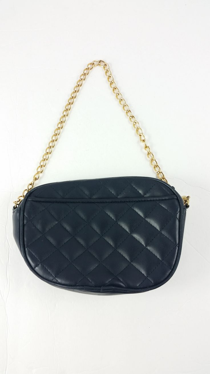 Vintage Navy Blue Quilted Faux Leather Bag