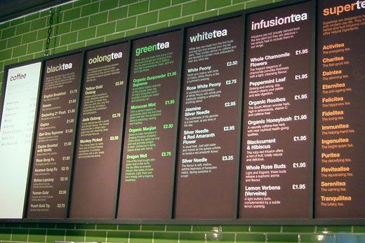 mind design | menu board, colour coded