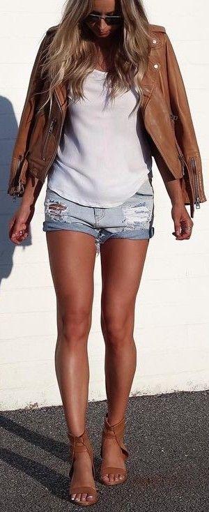 Cuffed shorts + leather jacket.