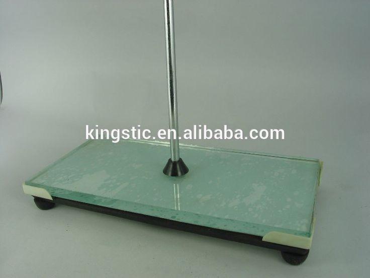 """Glass Retort Stand Base(lab instrument)/Cast iron base and glass platform/AA360-190/Dim:300*150*30mm, Rod:700*10mm"""
