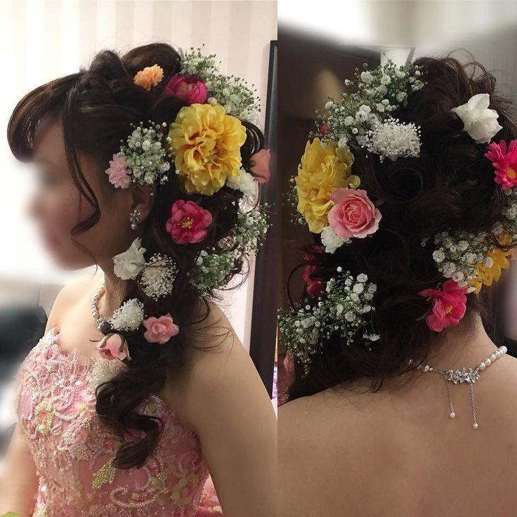 #so_magic  #色直しヘア #ピンクドレス #お花いっぱいヘア #ゆるめ編み込み #ラプンツェル風 #ゲストと同じ髪型は嫌 #花嫁らしい髪型がいい #ホテルウェディング #背中まである長い髪