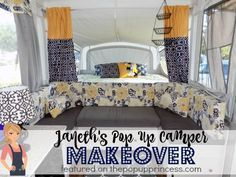 I love the color scheme of this pop up camper remodel, and the whole family got involved.  So awesome!