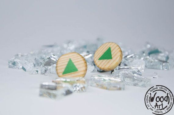 Triangle Studs Geometric Studs Lime Green Studs by TheWoodArtShop