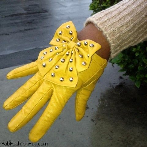 Yellow Leather Glove with Studded Bow at Wrist ....