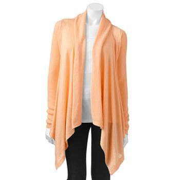SONOMA life + style Pointelle Open-Front Cardigan