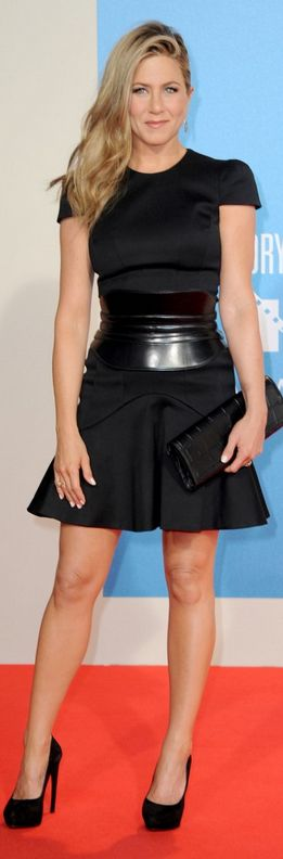 Who made  Jennifer Aniston's black cap sleeve dress, platform pumps, and leather belt that she wore in Berlin on August 15, 2013?
