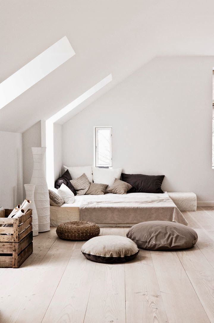 Modern country style attic bedroom with skylight