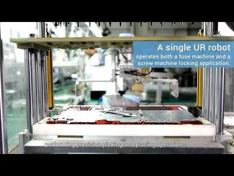 Wistron, the world's well-known Original Design Manufacturer (ODM) company in China, is the first to use the collaborative UR3 and UR5 robots from Universal Robots (UR) for its laptop assembly line to enable efficient and flexible production. Since February 2015, Wistron has implemented 60 UR robots to work its production line, automating tasks such as picking and placing laptop cases