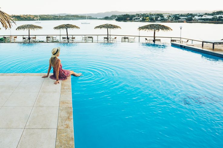 The Iririki Island Resort & Spa pool. Where the ocean meets the pool.