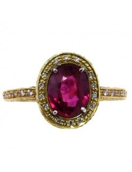 Ring in yellow gold, diamonds and ruby.