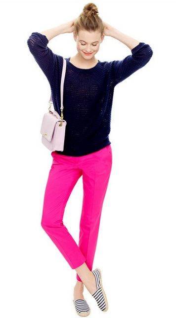 How to wear hot pink without looking like a five year old, courtesy of J.Crew: tailored, cropped capris in clean lines, oversized navy blue sweater, nautical espadrilles (stripes add interest), and a neutral, structured handbag. Finish with topknot bun, and voilà!