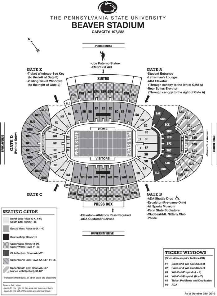 PSU - Beaver Stadium (107,282 seats)