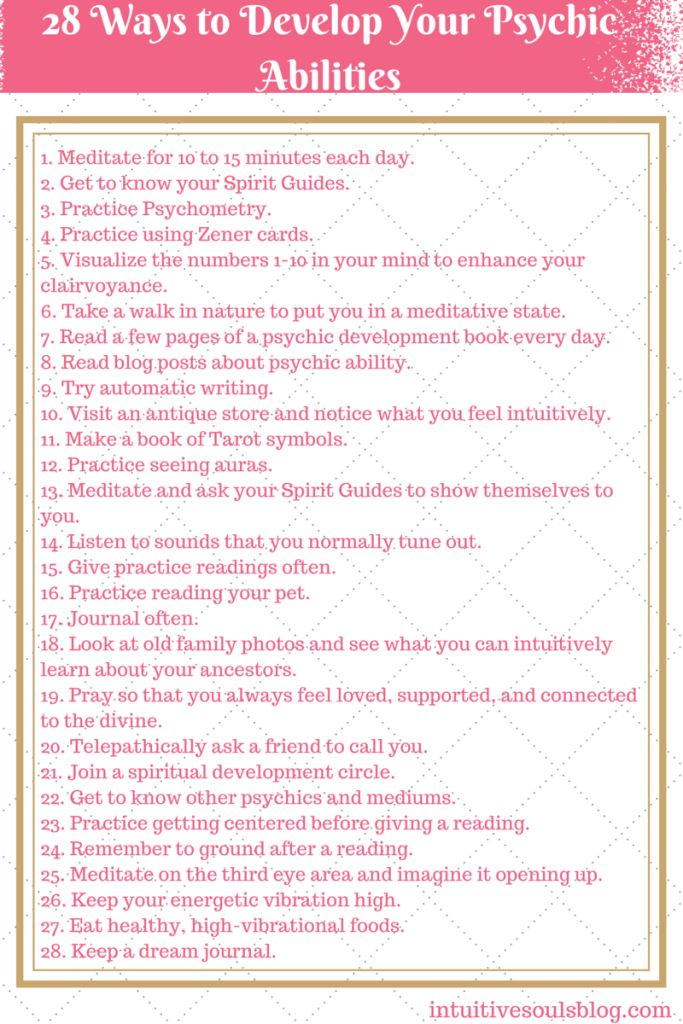 "There are lots of ways to develop your psychic and mediumship abilities. Here's a list of some of the different ways that you can practice opening up your gifts. Have fun! :) Share the post ""Develop Your Psychic Abilities ""Cheat Sheet"""" FacebookTwitterGoogle+PinterestStumbleUpon More Posts You'll Love Two Words You Should Never Say in a …"