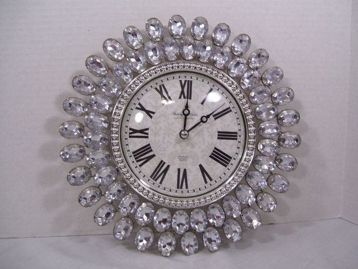 Sterling And Noble Wall Clock Faux Clear Sparkly Gems Battery Operated Bling Wall Clock Clock Bling