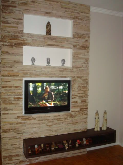 """Fixar TV LCD 42"""" em parede com revestimento de pedra (canjiquinha)"""