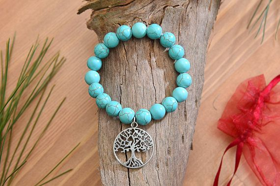 10mm Turquoise Stone Beads & Tree of Life Bracelet Natural