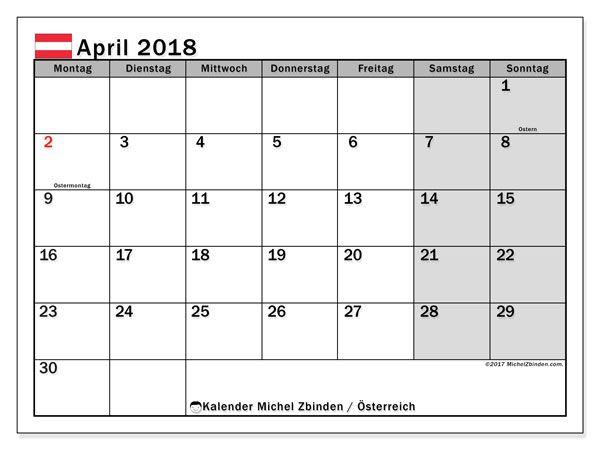 Kalender April 2018 österreich Music Free Printable Calendar