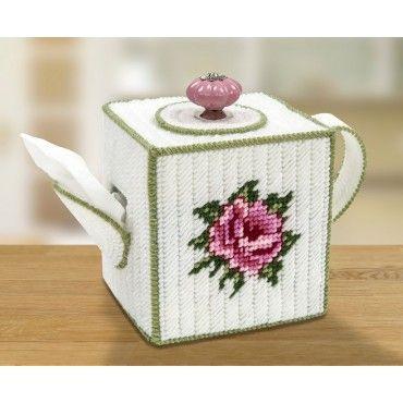 Mary Maxim - Teapot Tissue Box Cover Plastic Canvas Kit