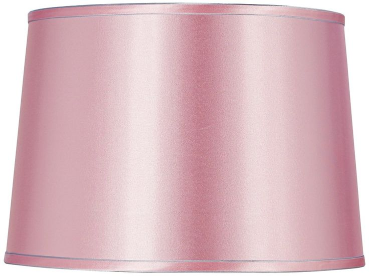 Sydnee Pale Pink Satin Drum Lamp Shade 14x16x11 (Spider). Satin drum lamp shade. Pale pink satin polyester fabric. Silver color shade piping and lining. Chrome finish spider fitter. Design by Springcrest Collection™.