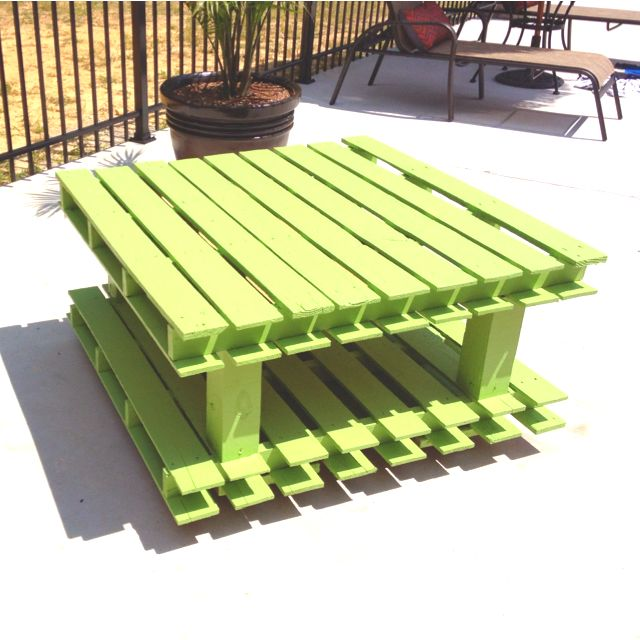 Outdoor coffee table made with old pallets 4x4 39 s and some for Patio table made from pallets