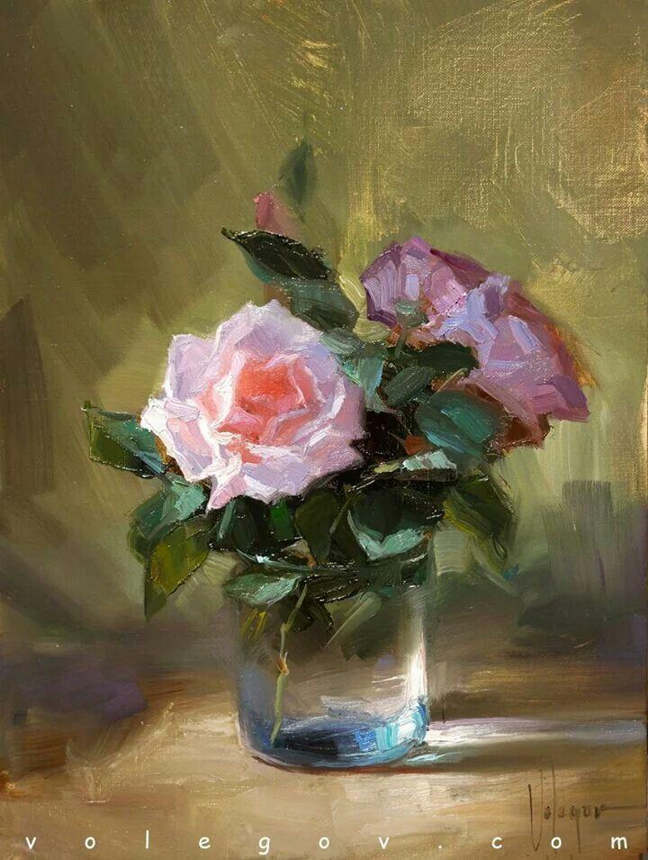 "©Vladimir Volegov ""Roses in december"", 30x40 cm, oil on canvas. December 2014."