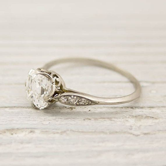 Antique Diamond Engagement Ring 1 01 Carat Asscher Cut by Tiffany and Co from