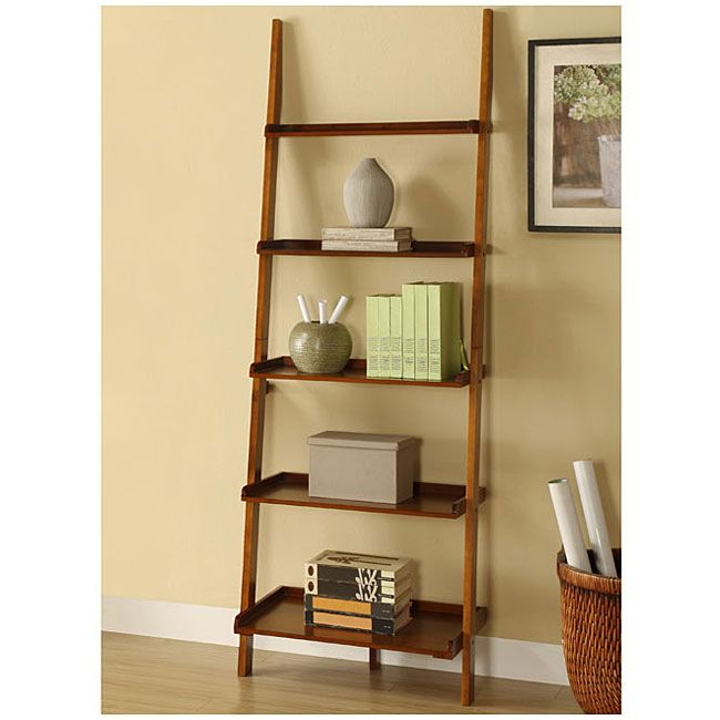 mahogany brown fivetier leaning ladder shelf