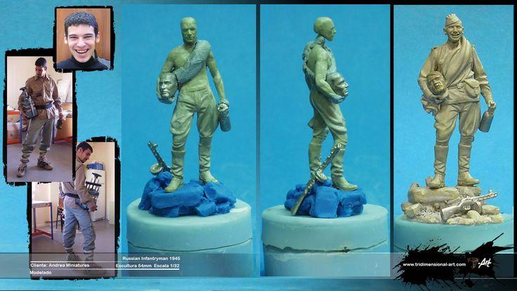 Russian infatryman. Clay modeling. Proceso modelado Saqueador ruso cabeza Adolf Hitler escultura 54mm. Pasta epoxi
