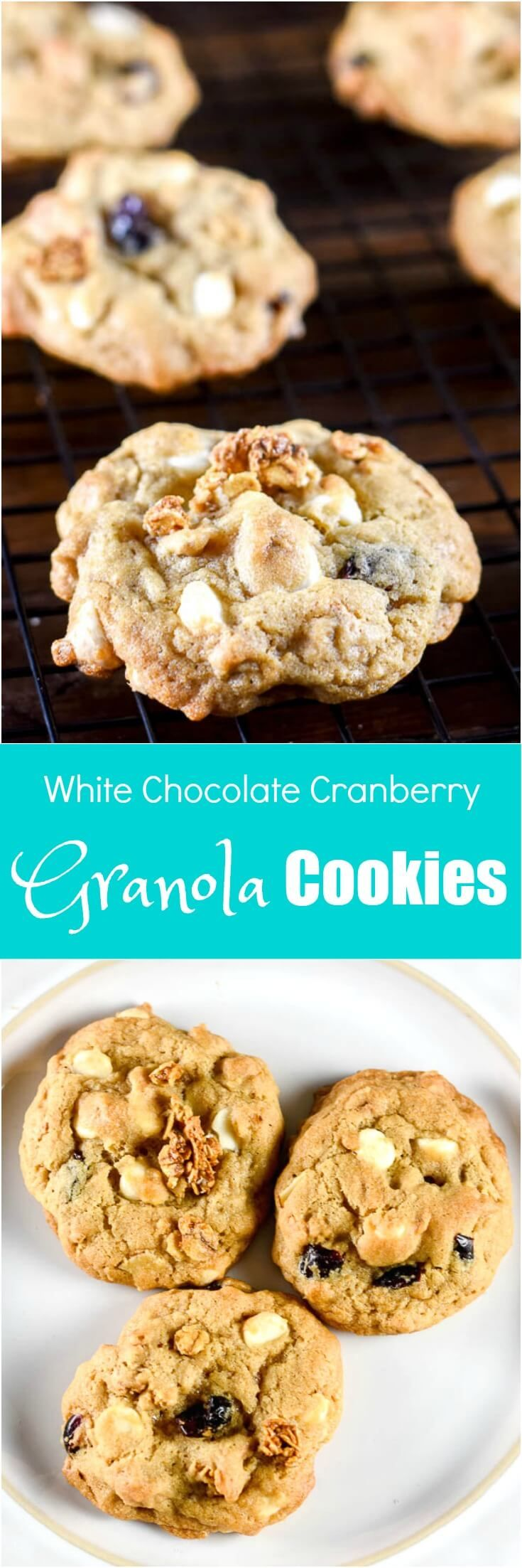 White Chocolate Cranberry Granola Cookies https://flavormosaic.com/white-chocolate-cranberry-granola-cookies/?utm_campaign=coschedule&utm_source=pinterest&utm_medium=Flavor%20Mosaic&utm_content=White%20Chocolate%20Cranberry%20Granola%20Cookies by Flavor Mosaic #SimplySatisfying #ad