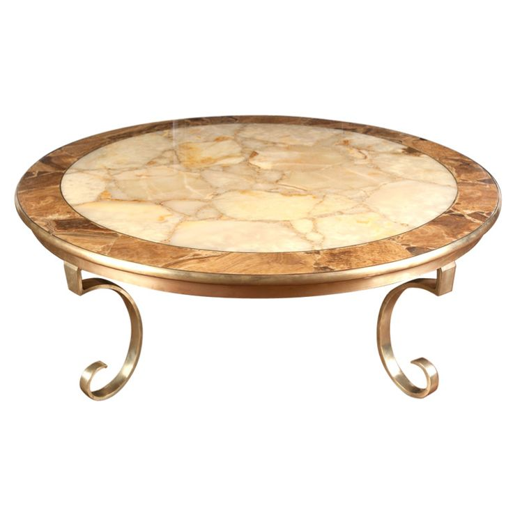 Onyx And Brass Round Coffee Table By Muller Of Mexico Coffee Tables Brass And Tables