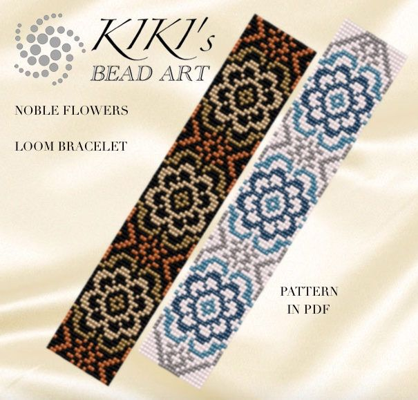Bead loom pattern Noble flowers LOOM bracelet pattern in PDF