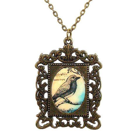 Vintage Bird in Frame Pendant Necklace – ASK ALICE by All Gifts Online