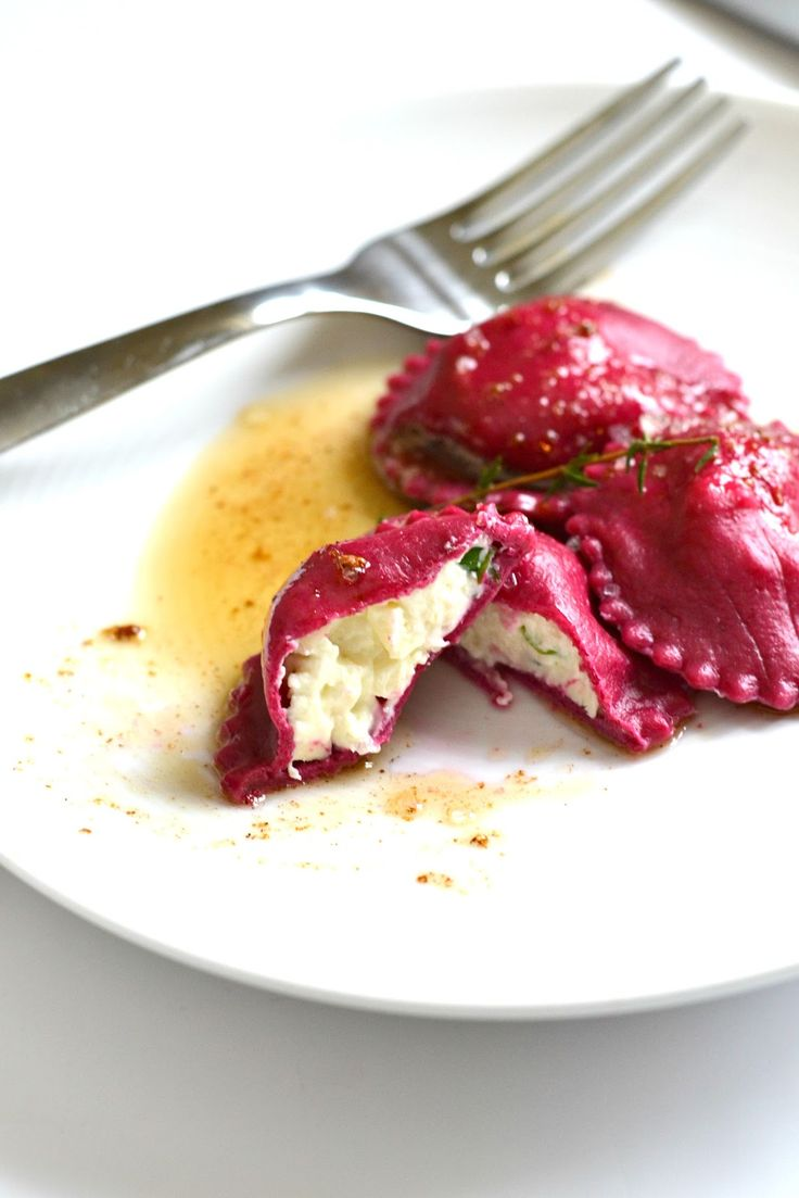 ~ Roasted Beet Ravioli with Goat Cheese and Herbs ~