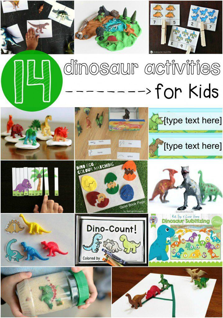 14 must-try dinosaur activities for kids. Math games, reading activities, free printables... lots of ideas! Perfect for a dinosaur unit.