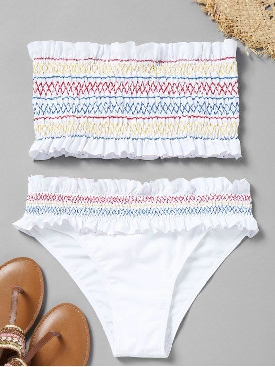 a023d8f016a Colorful Zigzag Smocked Bikini Set | Bikinis | Swimwear, Swimsuits, Bandeau  bikini set
