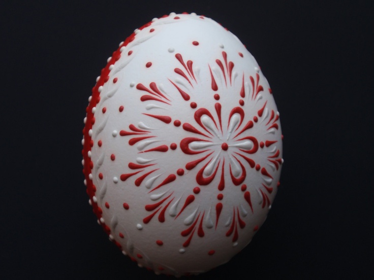Wax Embossed Chicken Egg, Polish Pysanka  in Red and White. $19.95, via Etsy.