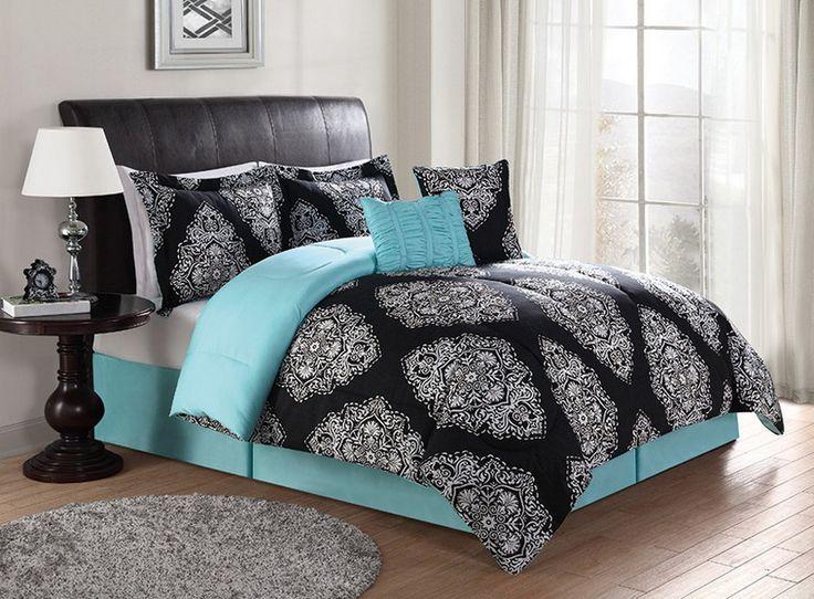 Black Turquoise Teal Blue Comforter Set Elegant Scroll Teen Girl Bedding Queen Or King