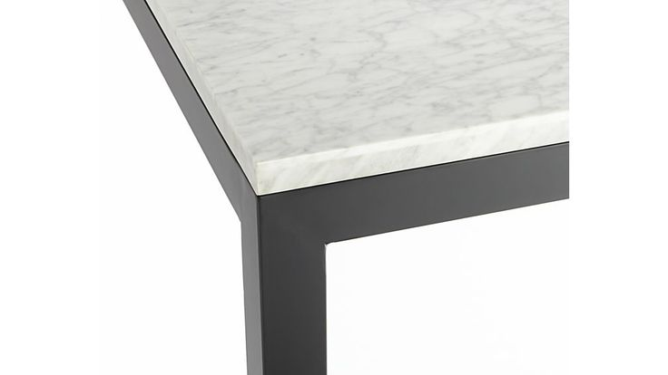 $819 Marble Top/ Dark Steel Base 48x28 Parsons Dining Table | Crate and Barrel