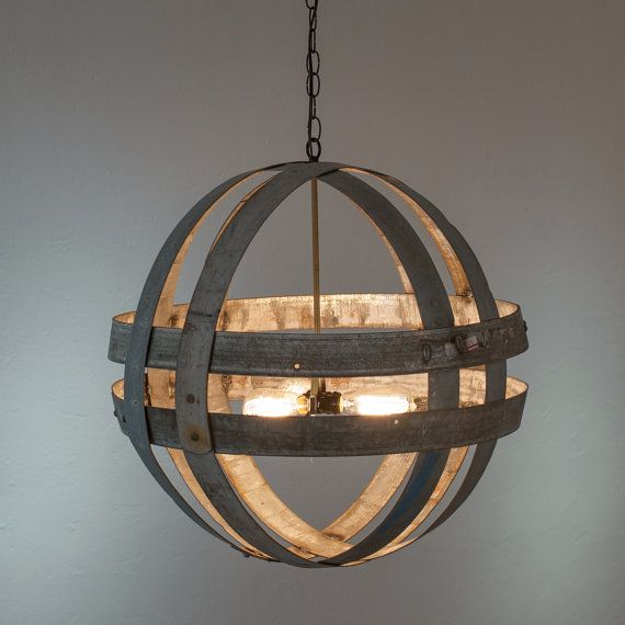 "ATOM - ""Cyclopean"" - Wine Barrel Double Ring Chandelier -  100% RECYCLED"