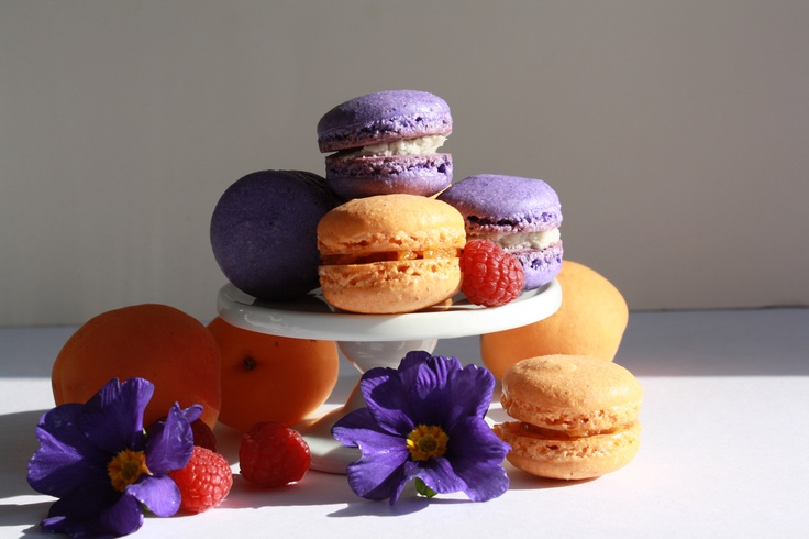 Apricot and Cassis White Ganache French Macarons.