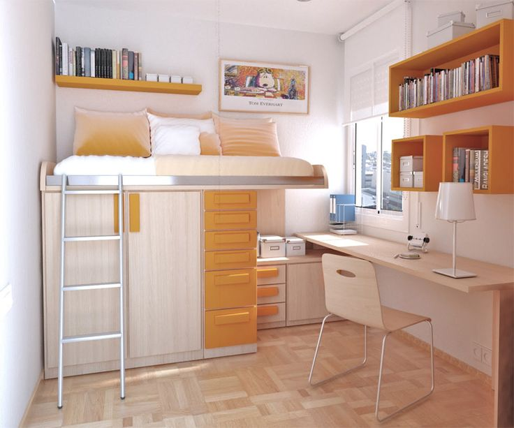 This teenager's room makes use of every inch of space keeping it light, bright and sunshine happy.