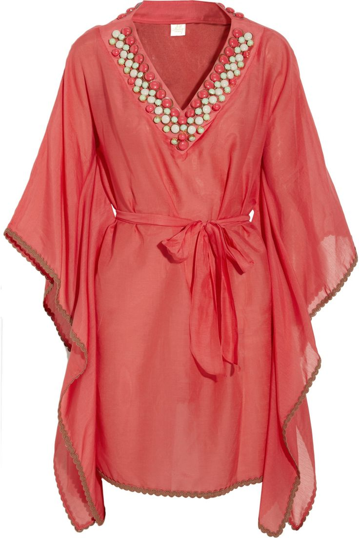 MILLY  Pelican Cove embellished cotton-blend voile kaftan  $350