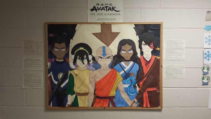 Avatar bulletin board. It took about 120 hours to make this one. The background is painted and the characters are made of paper cutouts outlined and shaded with Sharpe and/or colored pencils. The text on the side lists examples from different episodes where the characters' decisions impacted others.